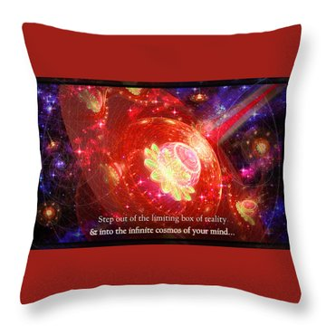 Throw Pillow featuring the mixed media Cosmic Inspiration God Source by Shawn Dall