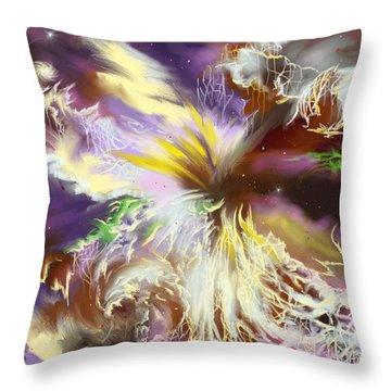 Throw Pillow featuring the digital art The Flowering Of The Cosmos by Amyla Silverflame