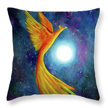 Cosmic Phoenix Rising Throw Pillow by Laura Iverson