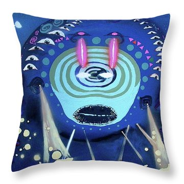Cosmic Psychedelic Electro Throw Pillow by Rafael Duncan