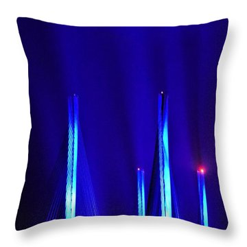Blue Light Rays - Indian River Inlet Bridge Throw Pillow