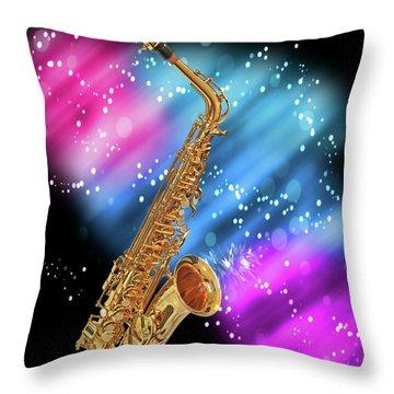Cosmic Sax Throw Pillow