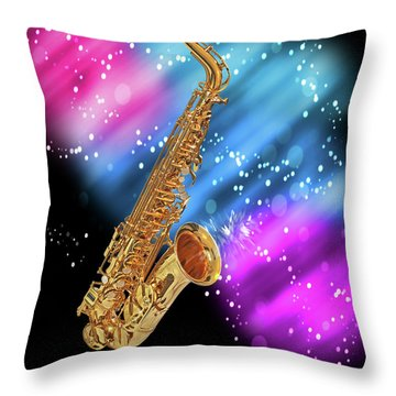 Cosmic Sax Throw Pillow