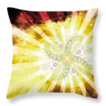 Cosmic Solar Flower Fern Flare 2 Throw Pillow