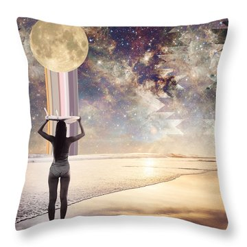 Cosmic Surf Check Throw Pillow