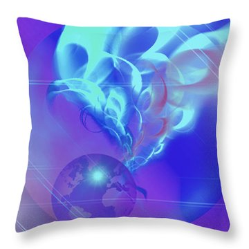 Cosmic Wave Throw Pillow by Ute Posegga-Rudel