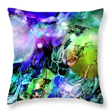 Throw Pillow featuring the painting Cosmic Web by John Dyess