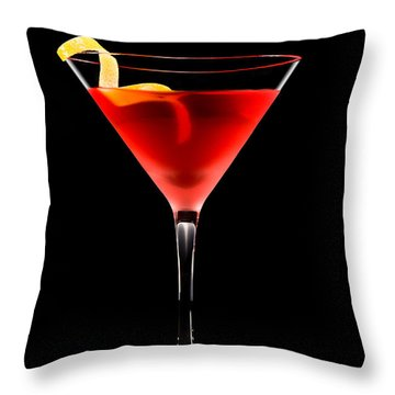 Cosmopolitan Cocktail In Front Of A Black Background  Throw Pillow