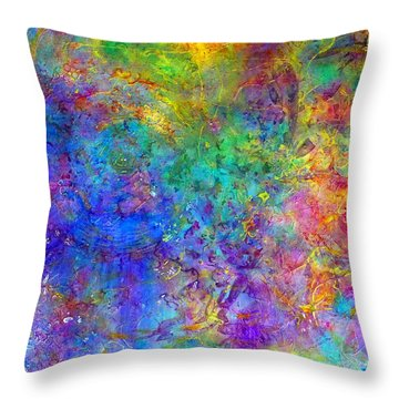 Throw Pillow featuring the painting Cosmos by Claire Bull