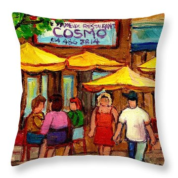 Cosmos  Fameux Restaurant On Sherbrooke Throw Pillow by Carole Spandau