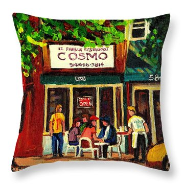 Cosmos Famous Montreal Breakfast Restaurant Throw Pillow by Carole Spandau