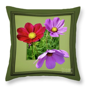 Cosmos Flower Peeking Out Throw Pillow