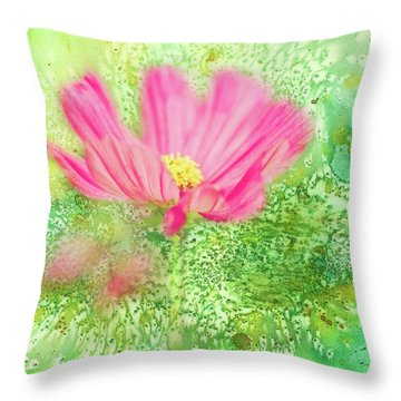 Cosmos On Green Throw Pillow
