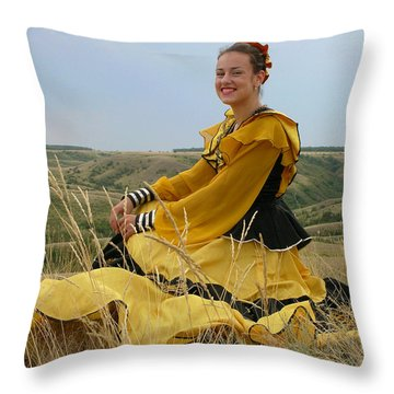 Cossack Young Lady Throw Pillow