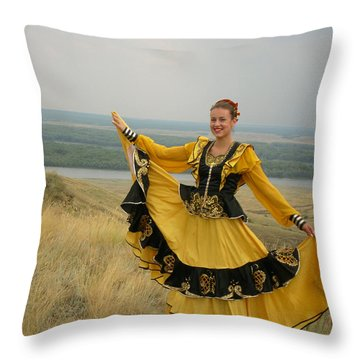 Cossack Young Woman Throw Pillow