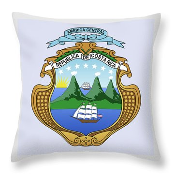 Throw Pillow featuring the drawing Costa Rica Coat Of Arms by Movie Poster Prints