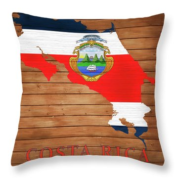 Costa Rica Rustic Map On Wood Throw Pillow
