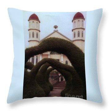 Costra Rica Garden Church Throw Pillow