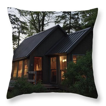 Throw Pillow featuring the photograph Cosy Cabin In The Woods by Gary Eason