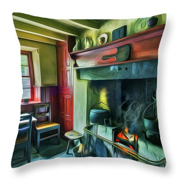 Cosy Cottage Oil Painting Throw Pillow