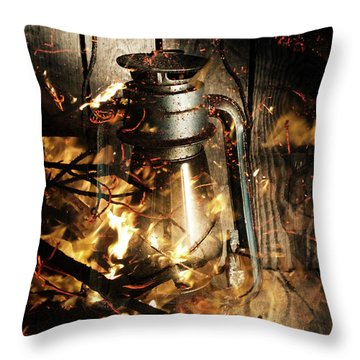 Cosy Open Fire. Cottage Artwork Throw Pillow
