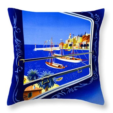 Cote D'azur Vintage Poster Restored Throw Pillow