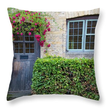 Throw Pillow featuring the photograph Cotswolds Cottage Home by Brian Jannsen