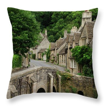 Cotswolds Village Castle Combe Throw Pillow