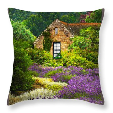 Cottage Amidst The Lavender Throw Pillow