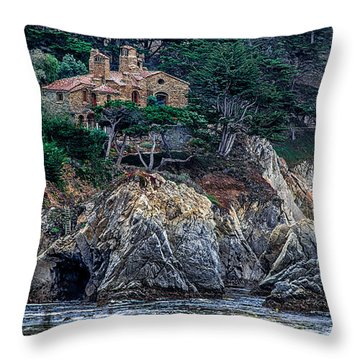 Cottage By The Ocean  Throw Pillow