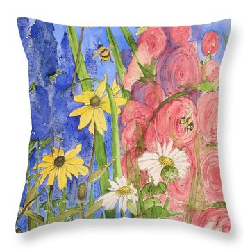 Cottage Garden Daisies And Blue Skies Throw Pillow