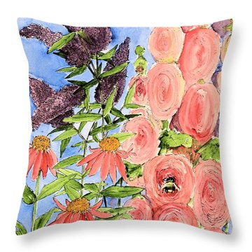 Throw Pillow featuring the painting Cottage Garden Hollyhock Bees Blue Skie by Laurie Rohner