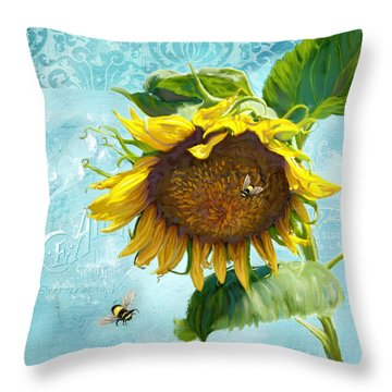 Cottage Garden Sunflower - Everlastings Seeds N Flowers Throw Pillow by Audrey Jeanne Roberts