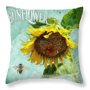 Cottage Garden - Sunflower Standing Tall Throw Pillow by Audrey Jeanne Roberts