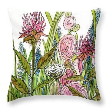 Cottage Hollyhock Garden Throw Pillow