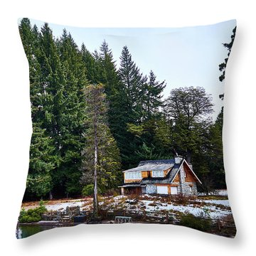 Little Cottage And Pines In The Argentine Patagonia Throw Pillow