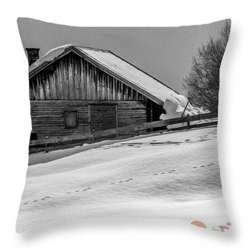 Cottage In Winter Throw Pillow