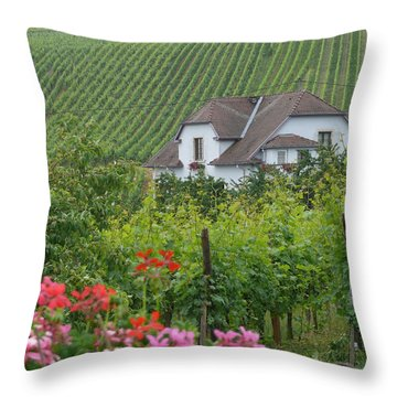 Cottage On The Alsace Wine Road Throw Pillow