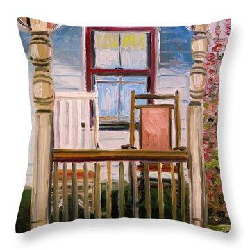 Cottage Rockers Throw Pillow by John Williams