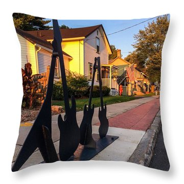Cottage Street Guitars Throw Pillow