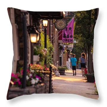 Cottage Street Stroll Throw Pillow