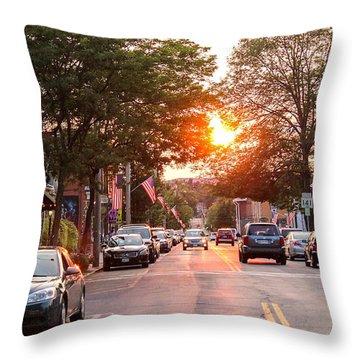 Cottage Street Summer Sunset Throw Pillow