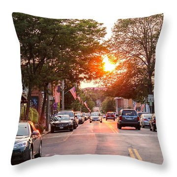 Cottage Street Summer Sunset Throw Pillow