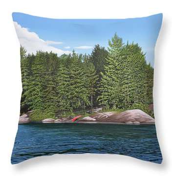 Throw Pillow featuring the painting Cottage View Silver Lake by Kenneth M Kirsch