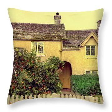 Cottage With A Picket Fence Throw Pillow by Jill Battaglia