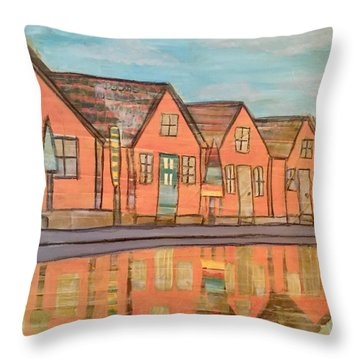 Cottages By The Beach Throw Pillow