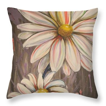Cotton Candy Daisies Throw Pillow