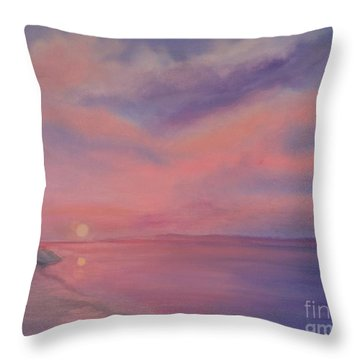 Throw Pillow featuring the painting Cotton Candy Sky by Holly Martinson