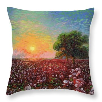 Cotton Field Sunset Throw Pillow
