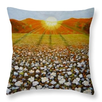 Throw Pillow featuring the painting Cotton Field Sunset by Jeanette Jarmon